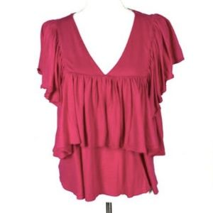 NEW Lou & Gray Small Top Pink Ruffle V Neck Layer